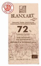 Blanxart 150g. Ciocolata organica neagra, 72% cacao, cu migdale. BIO