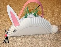 Kids can make these - bunny baskets made from a paper plate and construction paper. Cute