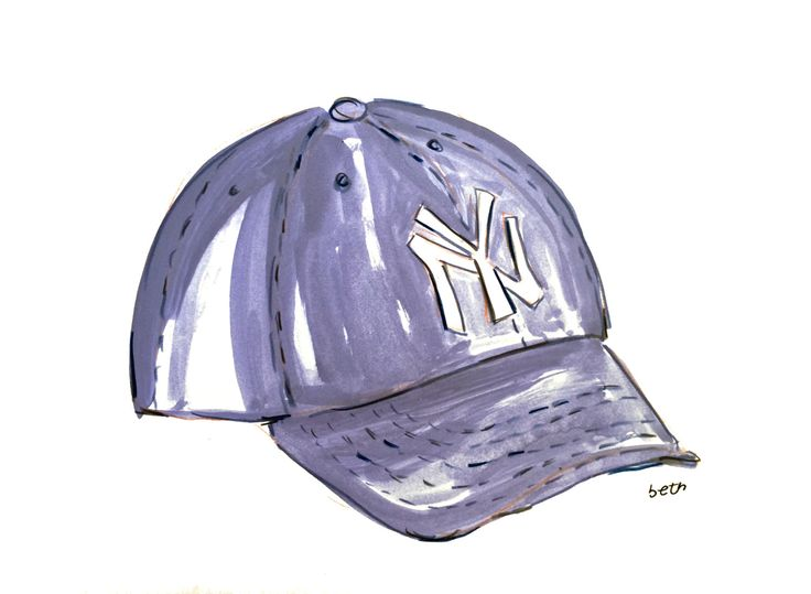 Art Print - Baby Boy Gift - Baseball - New York Yankees Baseball Hat - Gift for Dad - New York - Baby Boy Nursery - Sports - Boyfriend Gift by bbriggsillustration on Etsy