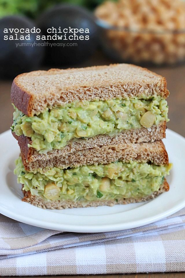 light and healthy sandwich made with smashed chickpeas, avocados and ...