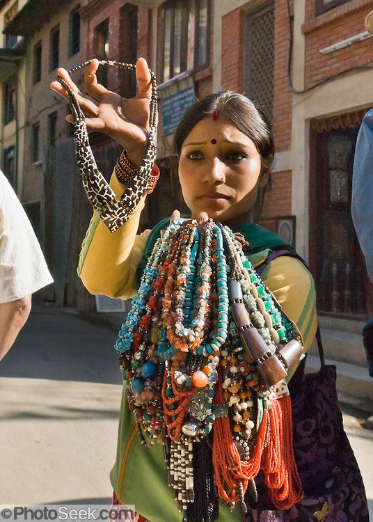 Selling necklaces . Patan's Durbar Square . Nepal