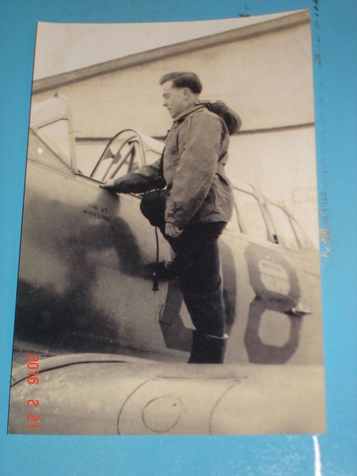 RAF pilot posing mounting his Harvard trainer Camp Borden  WWII photo