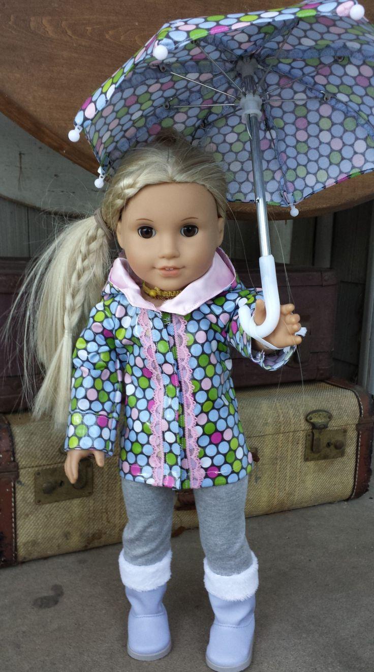 American girl doll clothes. Rain coat & umbrella