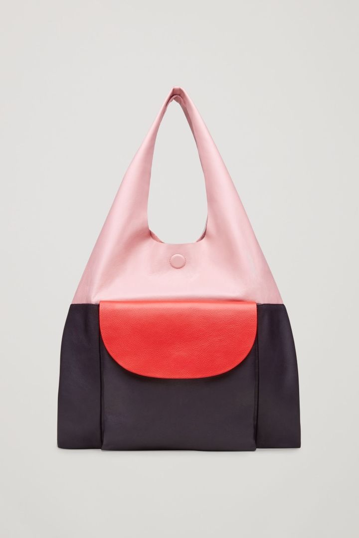 COS image 1 of Colour-block leather tote bag in Pink