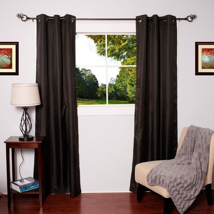 N Faux Silk Blackout Thermal Drape Panels (Set of 2) (Black), Size 84 Inches (Polyester, Solid)