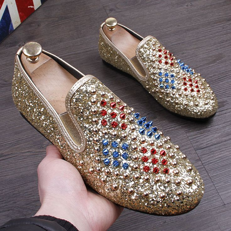 >> Click to Buy << 2017 Fashion Roud Toe Punk Rivets Men Loafers diamond Men Dress Shoes Zapatillas zapatillas hombre Casual chaussure gold shoes #Affiliate