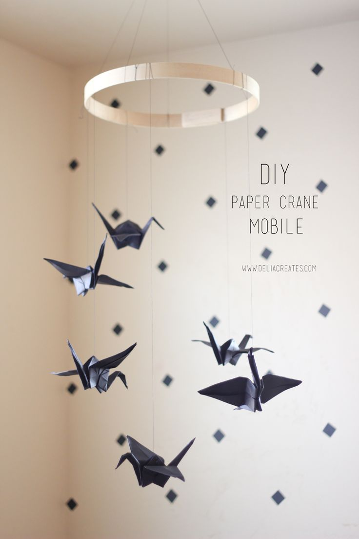 Paper crane mobile.
