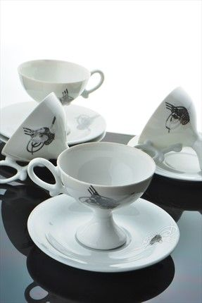 Neşeli Mutfaklar - 6 lı Bone China Porselen Gümüş Tuğra Fincan Seti M12-7453-GMS %69 indirimle 39,99TL ile Trendyol da