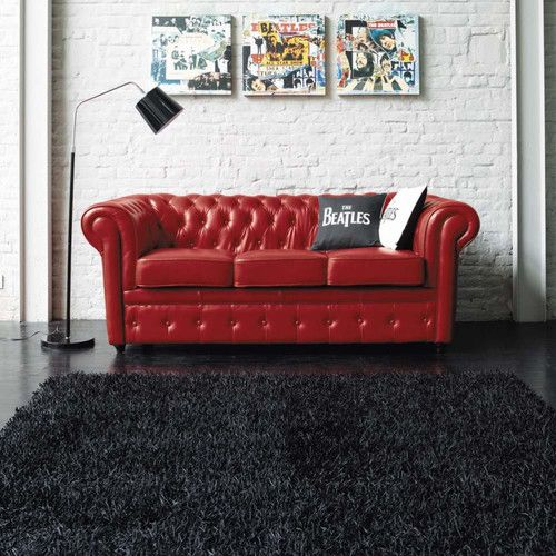 Canap capitonn 3 places en cuir rouge deco pinterest chesterfield li - Canape art deco cuir ...