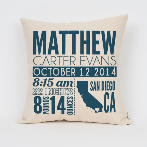Birth Announcement Personalized Pillow