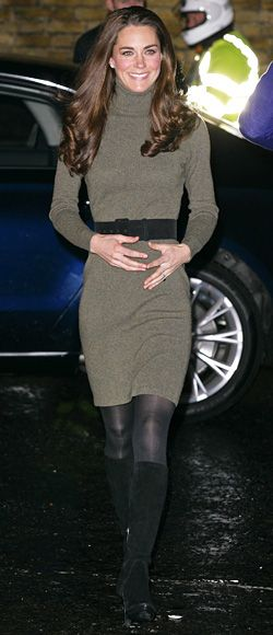 December 20, 2011  Middleton visited the Centrepoint charity in London wearing a Ralph Lauren turtleneck sweater dress, black Aquatalia boots, and Kiki McDonough earrings.