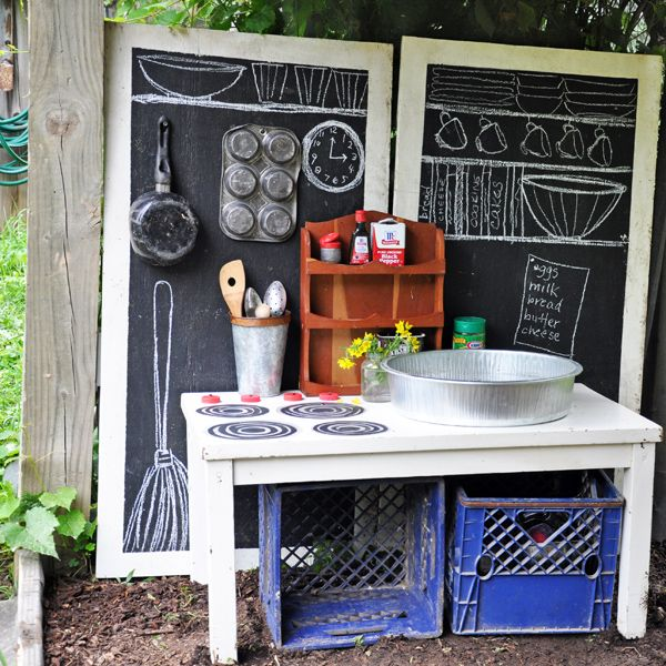Chalkboard paint. Thrift store dishes. Painted table. Empty spice bottles (No need to buy my girl a hundred dollar play kitchen) !!!