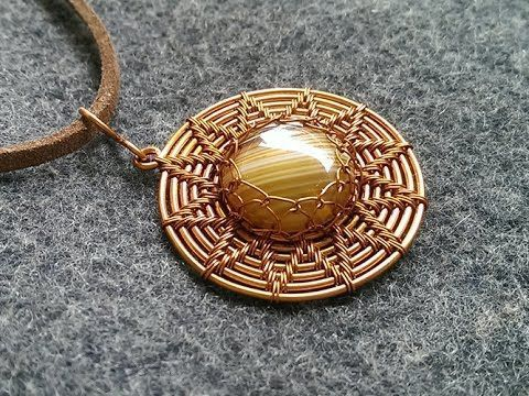DIY Bijoux  Sun pendant with stone no holes  How to make wire jewelery 233  YouTube