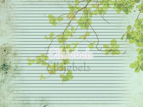 Grungy Lined Botanical Paper, Printable Lined Paper, Botanical Images, Vintage Botanical, Junk Journal Kit, Digital Download, Digital Kit
