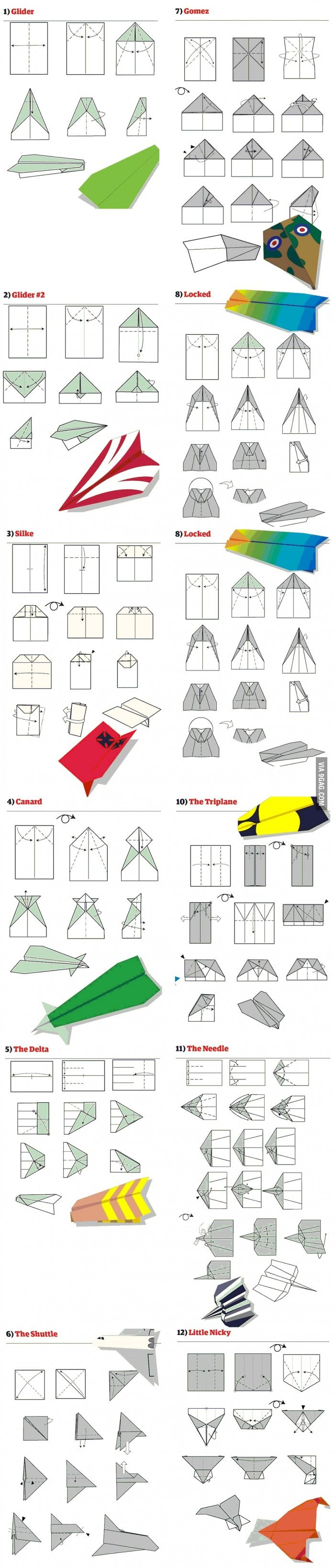 12 Aviones de papel (Tutorial) DIY