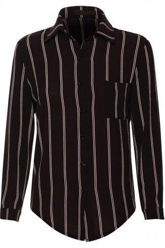 Ριγέ κρεπ μακρυμάνικο πουκάμισο - Μαύρο
