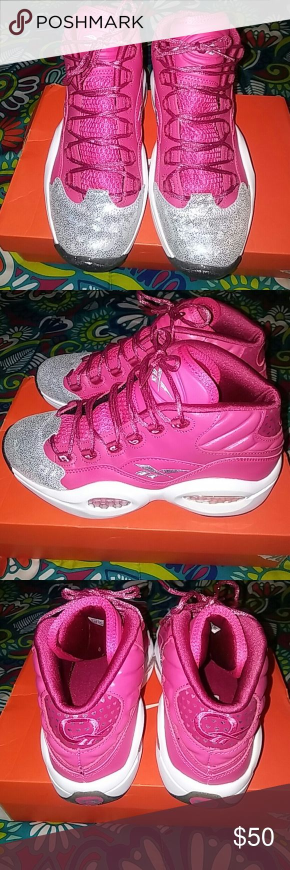 "New Reebok Allen Iversons New worn once for a very short period of time. Valentine's love Allen Iverson sneakers Rose colored pink a very pretty color, with the tip of the toes iridescent and glitter soles. What more could a girl ask for in a guy sneaker lil. Very girly so fellas if ur looking for a girly version of a man sneaker well here it is. Opened to offer but dont low ball me. Happy Poshing. Plz note these are a 7 in ""MEN"" Reebok Shoes Athletic Shoes"