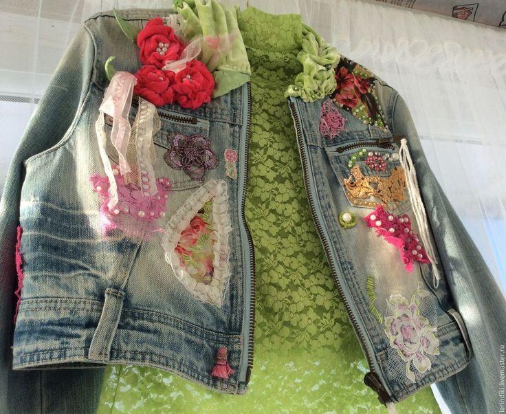 Купить Комплект: курточка джинсовая и кружевная блузка. - комбинированный, куртка ручной работы, джинсовая куртка