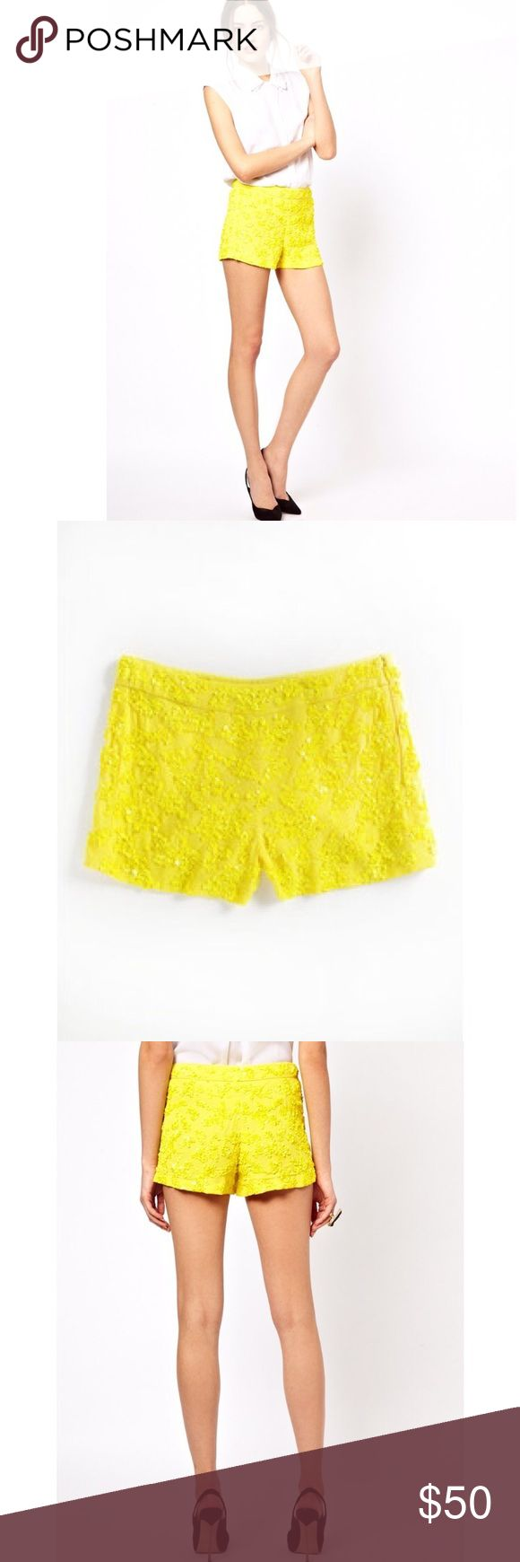 NWT French connection yellow sequin shorts size 0 French connection yellow sequin short 0, brand new with tags, never worn. Gorgeous! French Connection Shorts
