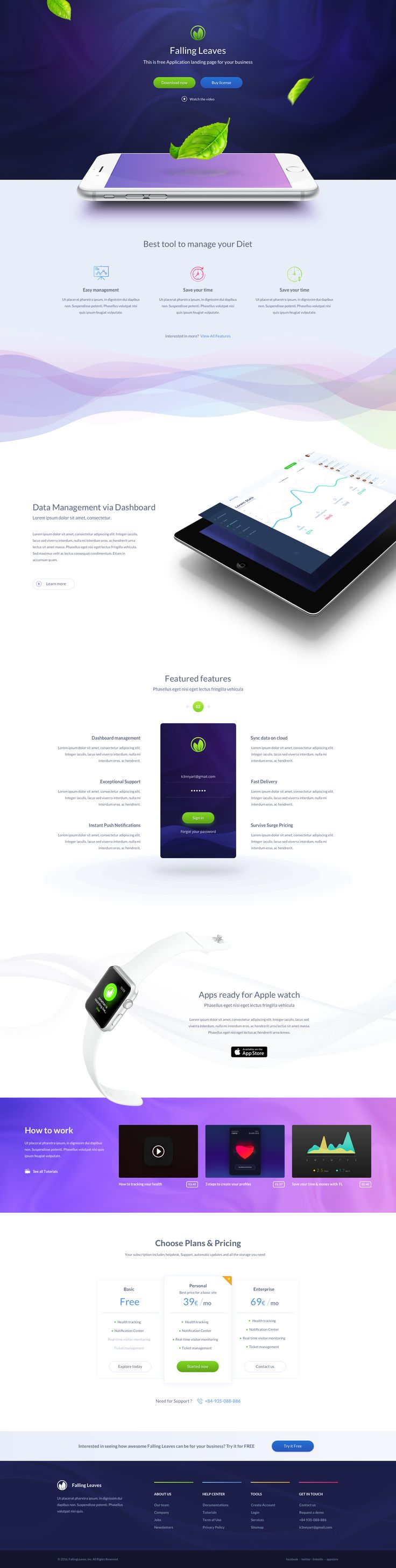 One Page App Landing page - Free giveaway by k3nnyart for WooRockets