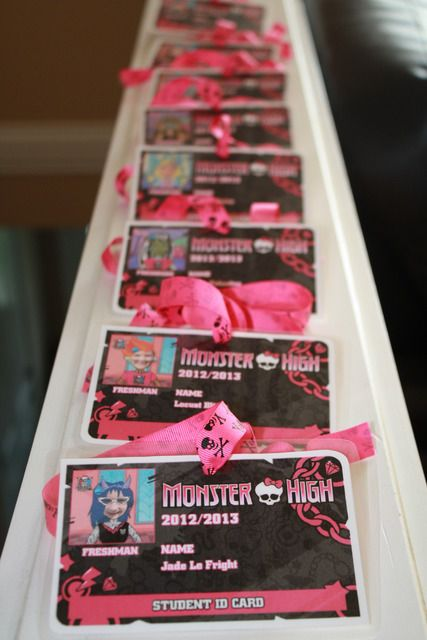 Monster High IDs. Have ppl RSVP with kids picture. When guests arrive give them their IDs. Alternative to party hats and if a drop off party excellent as parent information cards. GREAT IDEA FOR KAY's BDAY PARTY