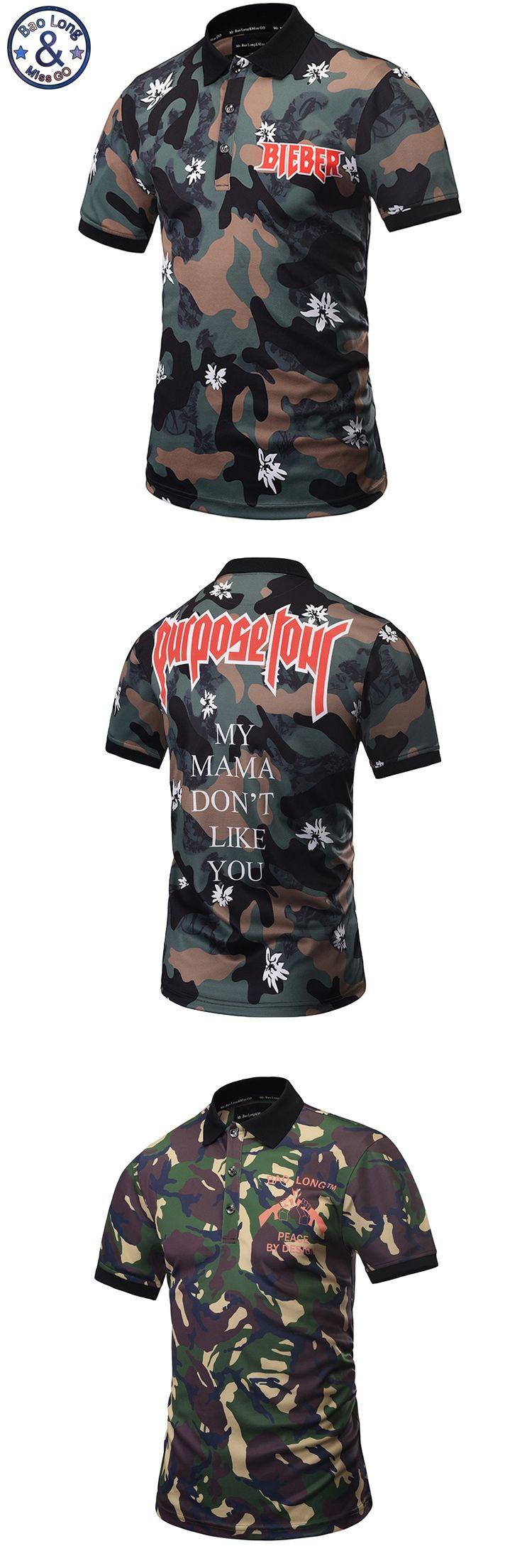 2017 Europe America Hot Men POLO Shirt Camouflage Guns Logo 3D Shirt 3 Button Men Casual Polo shirts M-3XL 1782-1783