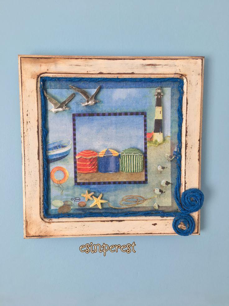 ahşap tablo boyama, wooden painting, decoupage, dekupaj