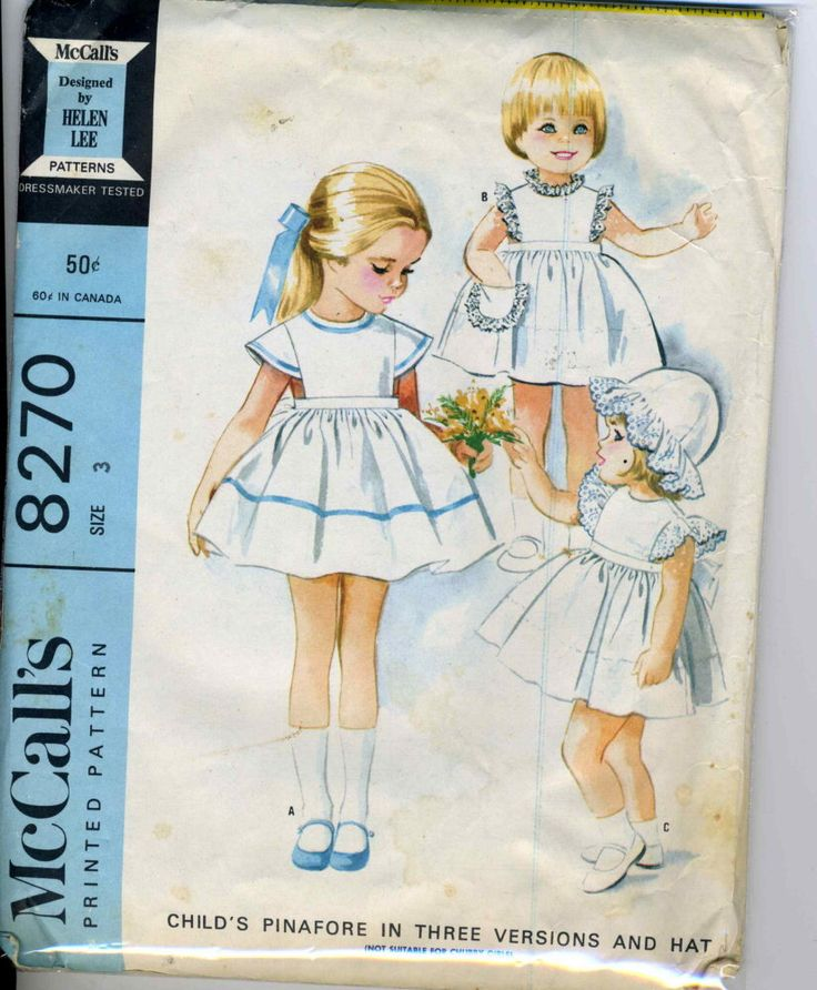 McCalls 8270 CUT Helen Lee Childs Set of Pinafores and Hat Sewing Pattern Size 3 = Breast 22.    Back buttoned pinafore in three versions,