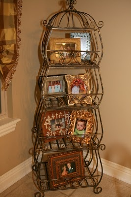 victorian bakers rack as linen shelf