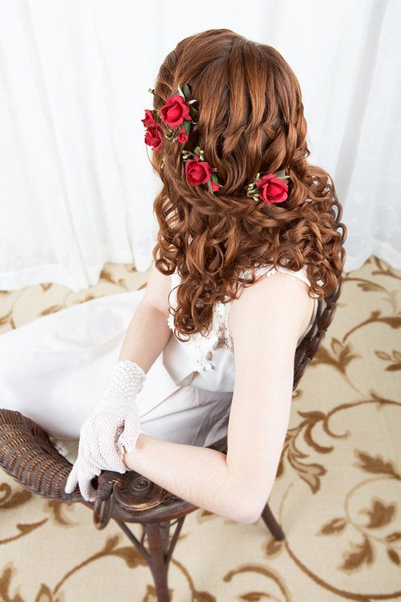 Hey, I found this really awesome Etsy listing at http://www.etsy.com/listing/170940115/red-rose-hair-pins-red-bridal-hairpiece