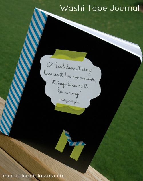 Dollar Tree Washi Tape DIY Ideas: Jazz up a composition book with a fun quote and bright binder!