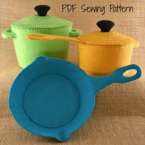 Felt Food, Cookware,  Pots and Pans, Frying pan, Pretend pans, Colorful Cookware, PDF Sewing Pattern