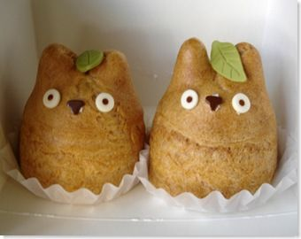 Totoro creme puffs from Shiro-hige bakery in Japan.