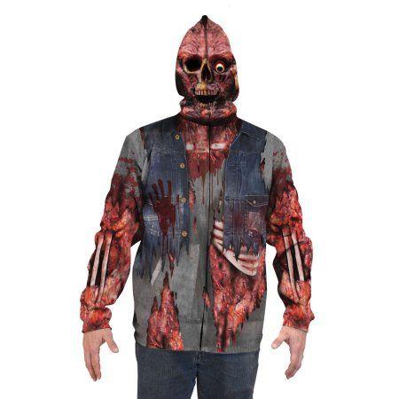 Zombie Mask Hoodie Big Men's Long Sleeve Full Mask Zip up Hoodie, 2XL, White