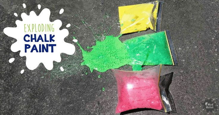 Exploding chalk paint bags will delight kids of all ages! A simple, fun, messy play experiment using basic household ingredients.
