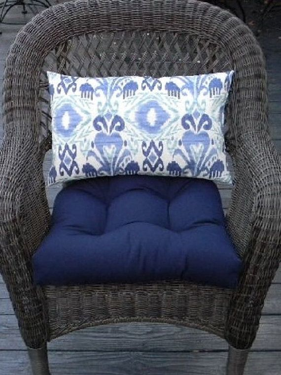 Indoor  Outdoor 19 x 19 Universal Tufted Wicker Seat Chair Patio Cushion Set  Solid Navy