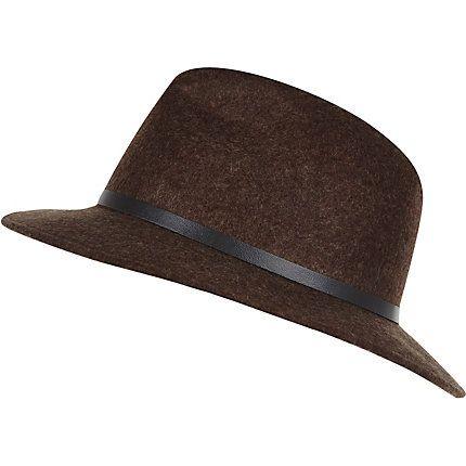 Brown felt fedora hat £22.00