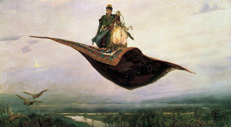 Vasnetsov samolet - Magic carpet. A depiction of the Russian folklore hero, Ivan Tsarevich. Painted by Viktor M. Vasnetsov, 1879.  (via Wikipedia, the free encyclopedia).