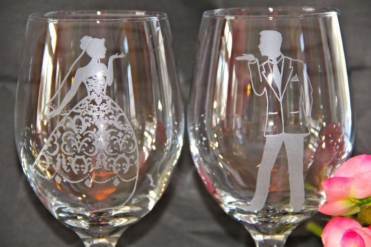 Close up of Wedding wine glasses.