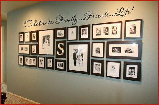 Large Family Photo Wall Display | large wall with lots of family photos? This is a great way to display ...