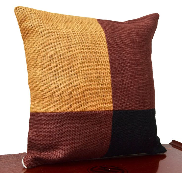 Burlap Pillow Cover With Color Block In Black Mustard Brown For A Designer Look
