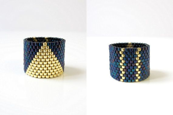 Statement Ring / Bead Ring / 2 designs in 1 / Iridescent Blue and Golden…