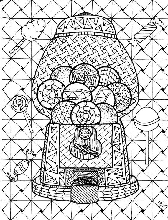 Gumball Machine Zentangle Coloring Page Digital Pdf Doodle Art