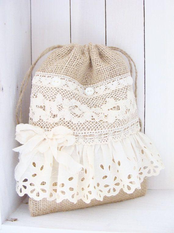 Wedding Dollar Dance Bag Burlap Lace Bride Purse by ShabbySoul