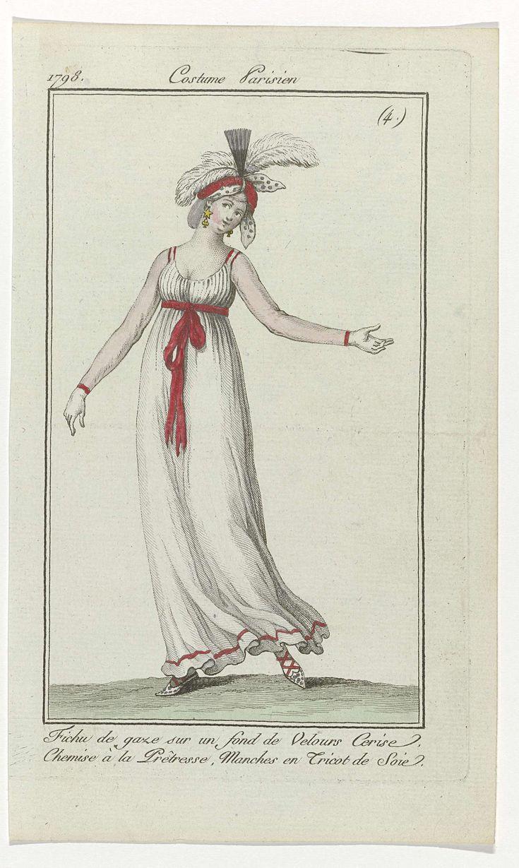 Journal des Dames et des Modes, Costume Parisien, 28 janvier 1798, (4) : Fichu de gaze..., Anonymous, 1798