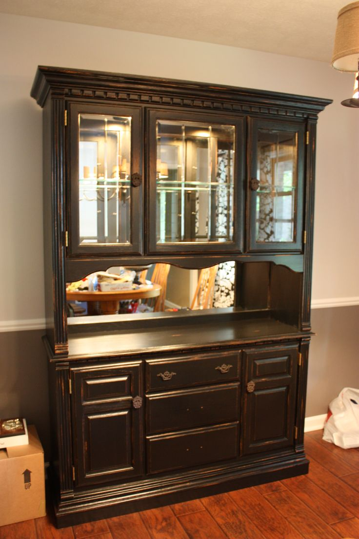 Diy painted china cabinet with distressed look mirrored for Diy mirrored kitchen cabinets