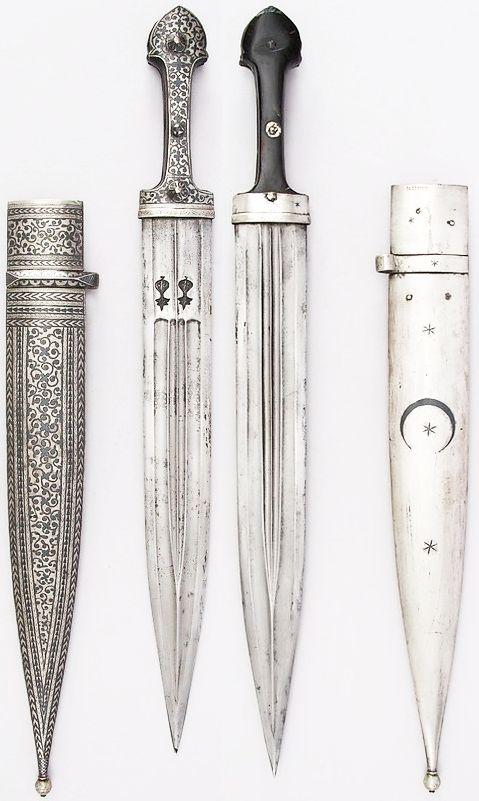 Caucasian qama / kindjal dagger, 19th century, steel, horn, silver, niello, L. with sheath 21 13/16 in. (55.4 cm); L. without sheath 20 1/2 in. (51.4 cm); L. of blade 14 7/8 in. (37.8 cm); W. 2 1/8 in. (5.4 cm); Wt. 15.7 oz. (445.1 g); Wt. of sheath 13.9 oz. (394.1 g), Met Museum, Bequest of George C. Stone, 1935.