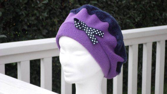 Bonnet chapeau béret  mauve violet bleu marine enfant  confortable  unique collection hiver  lin eva ce6f86f6785