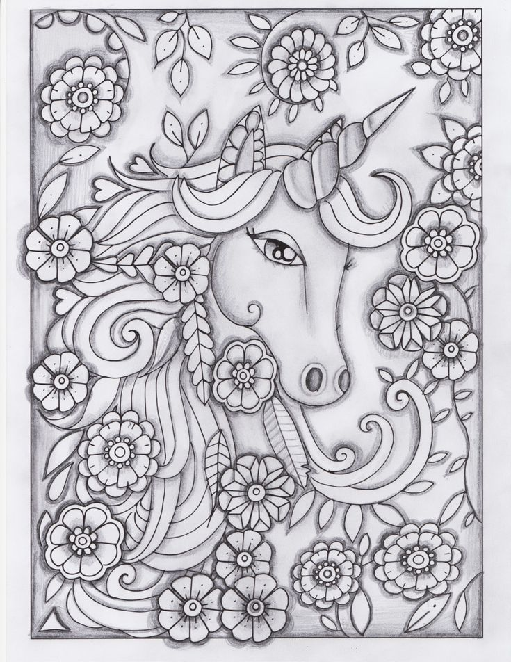 unicorn greyscale drawing unedited | Coloring Pages ...