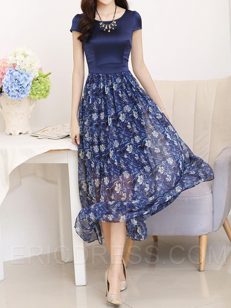 Ericdress Patchwork Floral Print Casual Dress Casual Dresses